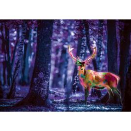 Fotobehang poster 1282 dieren hert bos blauw
