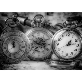 Fotobehang 1714 klokken tijd horloge time zwart wit
