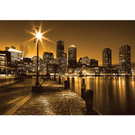 Fotobehang 0861 USA New York straat lantaarn geel nacht