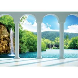 Fotobehang poster 2124 uitzicht met bogen op waterval