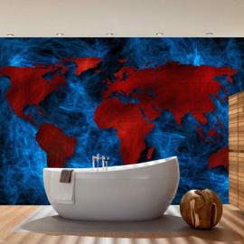 Fotobehang 3330 wereldkaart blauw rood