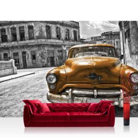 Fotobehang 1460 auto taxi cuba goud