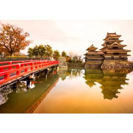 Fotobehang poster 0263 japan tempel brug romantisch rustgevend