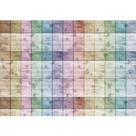 Fotobehang poster 0421 blokjes kleuren strepen