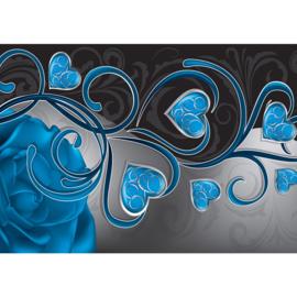 Fotobehang poster 1567 blauw hartjes roos bloem