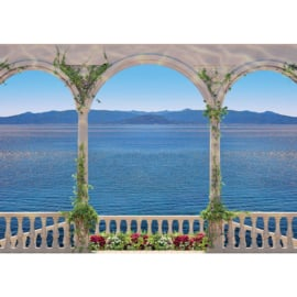 Fotobehang poster 1313 bogen pikaren uitzicht op zee en bergen
