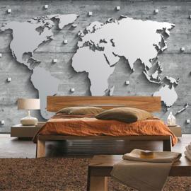 Fotobehang 3329 wereldkaart modern wit grijs