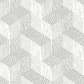 Jungle Fever Dutch jf3302 3d grafisch grijs wit  blokken kubus vierkant