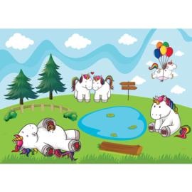 Fotobehang poster 4582 kinderkamer unicorn ballon
