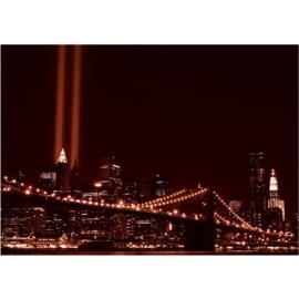 Fotobehang 0703 USA New York tower light oranje brug