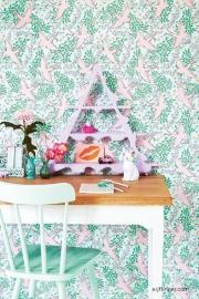 Eijffinger Rice 359022 roze vogels groen achtergrond bloemen
