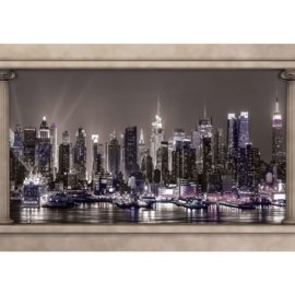 Fotobehang poster 1753 skyline by night water nacht wolkenkrabber