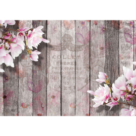 Fotobehang poster 2281 hout roze bloemen