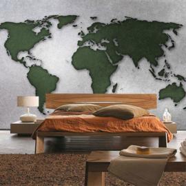 Fotobehang 3331 wereldkaart grijs licht grijs