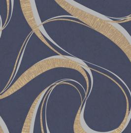 Walter WA2304 blauw goud zilver grafisch slingers ( met gratis lijm )