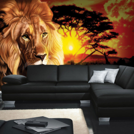 Fotobehang poster 1019 dieren leeuw tekening africa safari zonsondergang