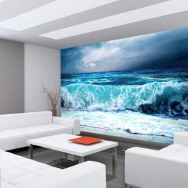 Fototbehang poster 0100 Natuur zee golven water storm