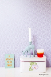 Eijffinger Rice 359004 aqua blauw bloemen kant paars achtergrond