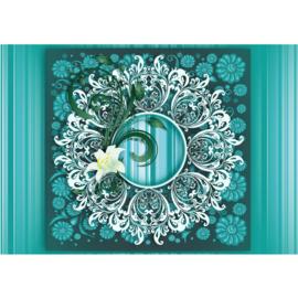Fotobehang poster 2659 Ornament orchidee blauw