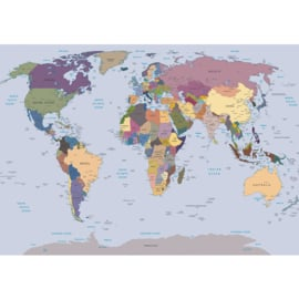 Fotobehang 1847 wereldkaart landkaart