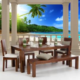 Fotobehang poster 0121 pilaren terras uitzicht op strand zee
