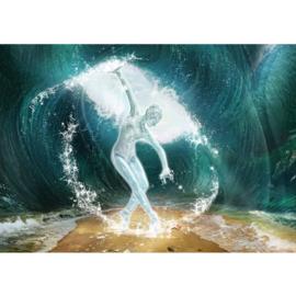Fotobehang poster 0962 vrouw in een golf sculptuur strand water