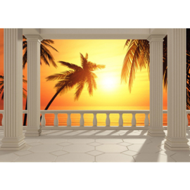 Fotobehang poster 0123 zonsondergang sunset pilaren terras palmbomen