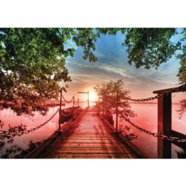 Fotobehang poster 0637 steiger zonsondergang boot zee boom lucht wolken