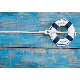 Fotobehang poster 3283 reddingsband blauw nautisch