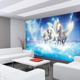 Fotobehang poster 1077 dieren pegasus paarden met vleugels blauw