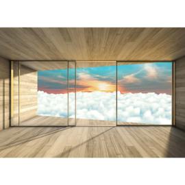 Fotobehang poster 2156 raam kamer uitzicht wolken lucht zon