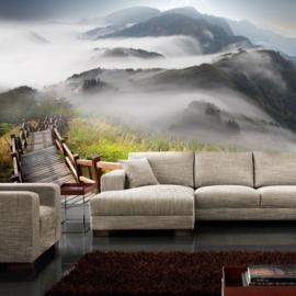 Fotobehang poster 0053 bergen houten trap mist uitzicht