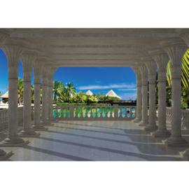 Fotobehang poster 1206 architectuur bogen piplaren uitzicht op paradijs