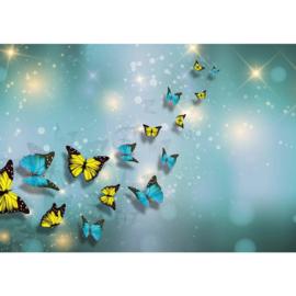 Fotobehang poster 2560 dieren vlinders blauw geel