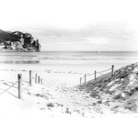 Fotobehang poster 1849 strand zee water zwart wit