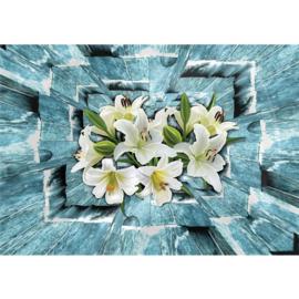 Fotobehang poster 1676 bloemen 3d wit blauw