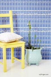 Eijffinger Rice 359031 bloem blok ruit wit achtergrond blauw