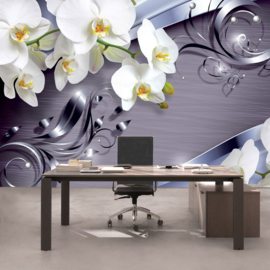 Fotobehang poster 0604 orchidee wit grijs patroon lila