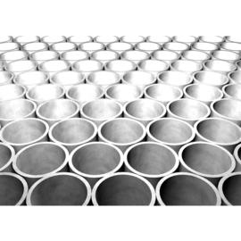 Fotobehang 0764 buizen grijs zwart wit 3d abstract