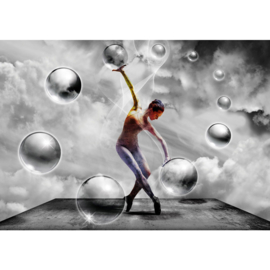 Fotobehang 1516 sport bubbel dansen zwart wit