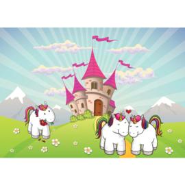 Fotobehnag poster 4596 kinderkamer unicorn kasteel