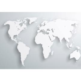 Fotobehang poster 0215 wereldkaart landkaart blauw grijs