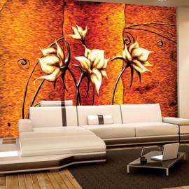 Fotobehang poster 3269 kunst schilderij bloemen rood oranje