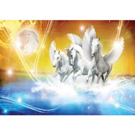 Fotobehang poster 1076 dieren pegasus paarden met vleugels blauw geel