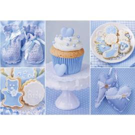 Fotobehang poster 3337 babykamer jongen blauw cupcake