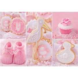 Fotobehang poster 3338 babykamer meisje cupcake roze