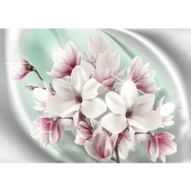 Fotobehang poster 0876 bloemen roze wit groen planten ster