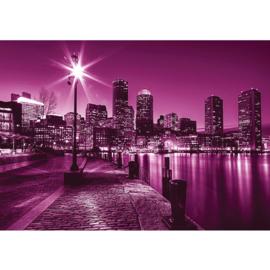 Fotobehang 0857 USA New York paars lantaarn nacht