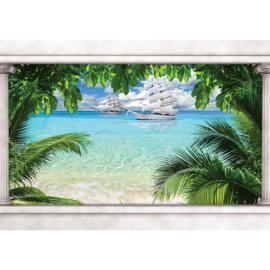 Fotobehang poster 1648 blauw water schip boot zeilen strand planten groen