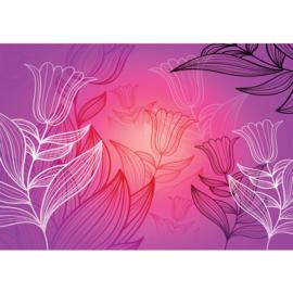 Fotobehang poster 1624 bloemen paars roze